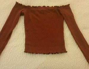 Small Mauve Ribbed Off Shoulder Long Sleeve Top